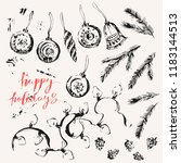hand drawn ink christmas and... | Shutterstock .eps vector #1183144513