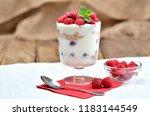 homemade yoghurt with oatmeal... | Shutterstock . vector #1183144549