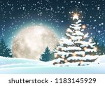 christmas tree in snowy... | Shutterstock .eps vector #1183145929