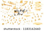 hand drawn golden paint texture.... | Shutterstock .eps vector #1183162660