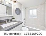 modern bathroom interior with... | Shutterstock . vector #1183169200