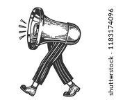 loudspeaker walks on its feet... | Shutterstock . vector #1183174096
