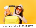 fun tourist woman in summer... | Shutterstock . vector #1183175176