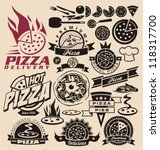pizza icons  labels  signs ... | Shutterstock .eps vector #118317700
