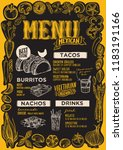 mexican menu template for... | Shutterstock .eps vector #1183191166