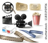 cinema set of 3d realistic... | Shutterstock . vector #1183193956
