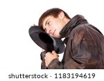 man with acoustic lps | Shutterstock . vector #1183194619