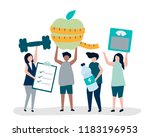 people eating healthy and... | Shutterstock .eps vector #1183196953