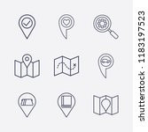 outline 9 location icon set.... | Shutterstock .eps vector #1183197523