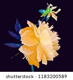 a picturesque peony flower.... | Shutterstock .eps vector #1183200589