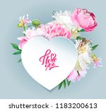 a picturesque peony flower.... | Shutterstock .eps vector #1183200613