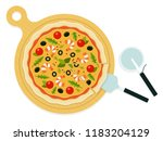 whole pizza with seafood on a... | Shutterstock .eps vector #1183204129