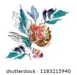 clipart flower watercolor hand...   Shutterstock . vector #1183215940