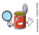 detective metal food cans on a... | Shutterstock .eps vector #1183219900