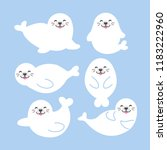 seal animal cartoon. vector... | Shutterstock .eps vector #1183222960