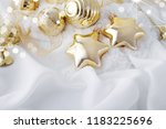 gold christmas ornaments on... | Shutterstock . vector #1183225696