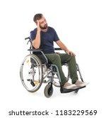 sad man in wheelchair on white... | Shutterstock . vector #1183229569