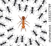 ants organized in a group fight ... | Shutterstock .eps vector #1183237789