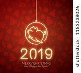 cute pig neon logo  new year...   Shutterstock .eps vector #1183238026