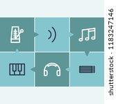audio icon set and headphone...