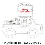 santa claus driving car with... | Shutterstock .eps vector #1183249360