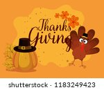 happy thanks giving card with... | Shutterstock .eps vector #1183249423