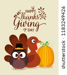 thanks giving card with turkey... | Shutterstock .eps vector #1183249426