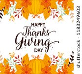 happy thanks giving card with... | Shutterstock .eps vector #1183249603