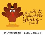 happy thanks giving card with... | Shutterstock .eps vector #1183250116
