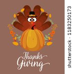 happy thanks giving card with... | Shutterstock .eps vector #1183250173