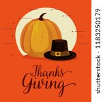 happy thanks giving card with... | Shutterstock .eps vector #1183250179