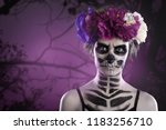 woman art make up. scary skull... | Shutterstock . vector #1183256710