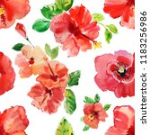 Small photo of Seamless design background. Watercolor tropical flower red and delicate pink hibiscus with leaves and bud, flowery Hawaiian composition