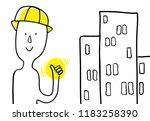 cartoon constructor profession... | Shutterstock .eps vector #1183258390