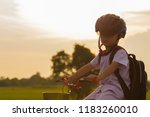 happy boy with his bike.kid...   Shutterstock . vector #1183260010