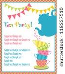 tea time card. vector... | Shutterstock .eps vector #118327510