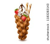 vector realistic bubble waffle. ...   Shutterstock .eps vector #1183283143