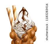 vector realistic bubble waffle. ... | Shutterstock .eps vector #1183283416
