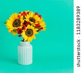 bouquet of sunflowers and... | Shutterstock . vector #1183289389