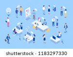 isometric office with business... | Shutterstock .eps vector #1183297330