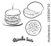 hand drawn sketch of brioche... | Shutterstock .eps vector #1183304710