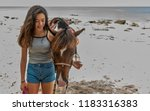 Young Woman Holiding Horse On...