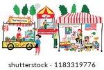 people selling and shopping at... | Shutterstock .eps vector #1183319776