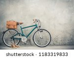 retro bicycle with aged leather ...   Shutterstock . vector #1183319833