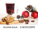 hot mulled wine with christmas...   Shutterstock . vector #1183322890