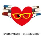 heart in glasses and with books ... | Shutterstock .eps vector #1183329889