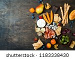 appetizers table with italian... | Shutterstock . vector #1183338430