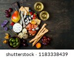 appetizers table with italian... | Shutterstock . vector #1183338439