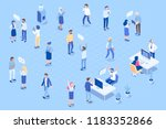 isometric people in office.... | Shutterstock .eps vector #1183352866