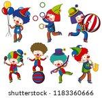 a set of circus clown...   Shutterstock .eps vector #1183360666
